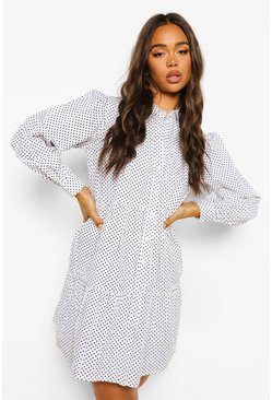 White Polka Dot Tiered Shirt Dress