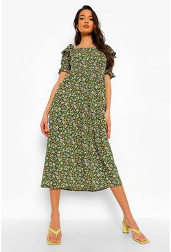 Green Floral Print Square Neck Midaxi Dress