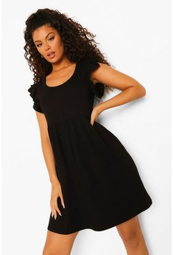 Black Frill Sleeve Scoop Neck Smock Dress