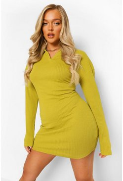 Olive grön Rib Open Collar Bodycon Mini Dress