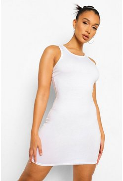 White Sleeveless Bodycon Mini Dress