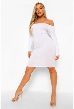 White Bardot Long Sleeve Midi Dress