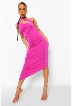 Pink Textured Slinky Ruched Midi Dress