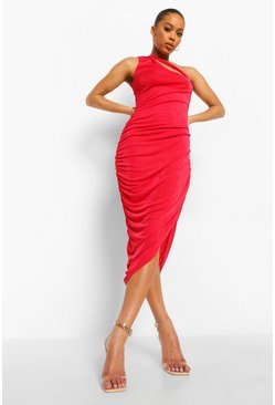 Red Textured Slinky Ruched Midi Dress