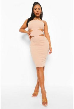 Stone beige Halterneck Cut Out Midi Bodycon Dress