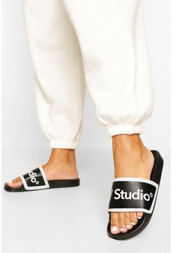 Black W Studio Slippers