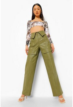Khaki Leather Look Turn Over Waist Trousers