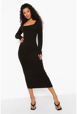 Black Square Neck Bodycon Midaxi Dress