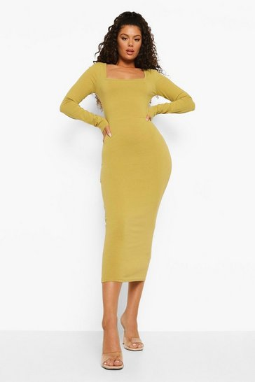 Olive green Square Neck Bodycon Midaxi Dress