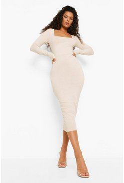 Stone beige Square Neck Bodycon Midaxi Dress