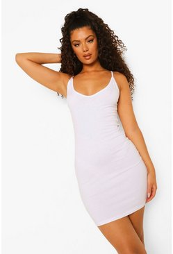 White Strappy Plunge Bodycon Mini Dress