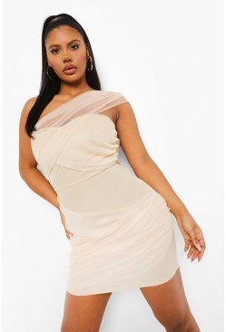 One-Shoulder-Minikleid mit Wickeldetail, Steingrau beige