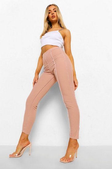 Stone beige Contrast Stitch Split Hem Ribbed Leggings