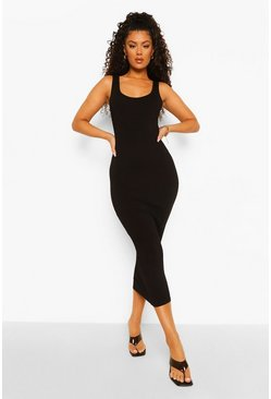 Black Sleeveless Bodycon Midaxi Dress