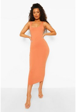 Caramel beige Sleeveless Bodycon Midaxi Dress
