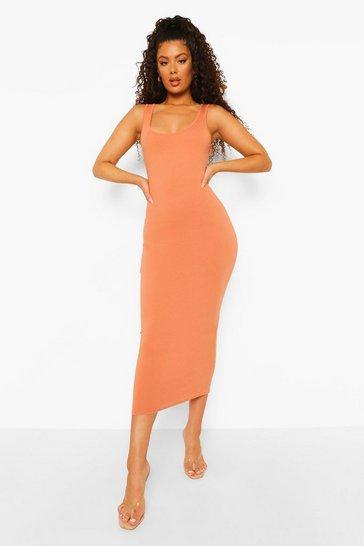 Caramel beige Sleeveless Bodycon Midaxi Dress