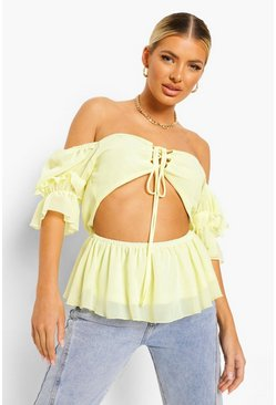 Lemon yellow Woven Open Back Peplum Top
