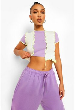 Lilac purple Rib Knit Contrast Seam Colour Block Crop Top