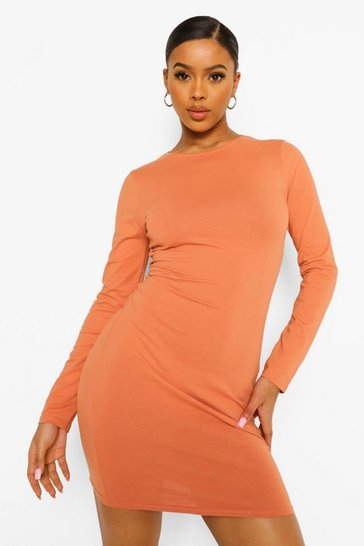 Caramel beige Long Sleeve Bodycon Mini Dress