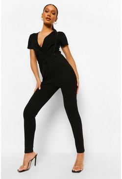 Black Jersey Wrap Short Sleeve Jumpsuit
