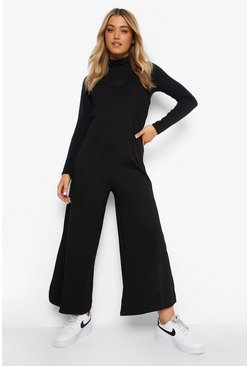 Black V Neck Strappy Oversized Jumpsuit