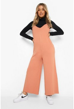 Caramel beige V Neck Strappy Oversized Jumpsuit