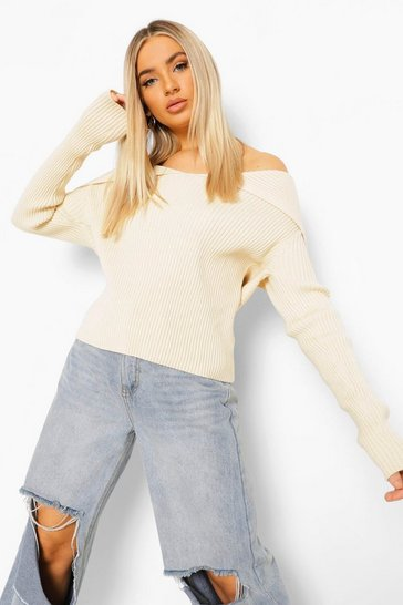 Ivory white Premium Rib Off The Shoulder Jumper