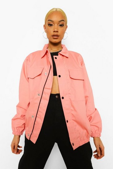 Terracotta orange Pocket Front Oversized Bomber Jacket