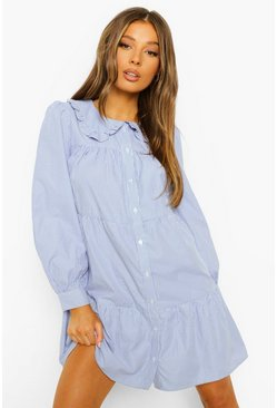 Blue Stripe Ruffle Collar Shirt Dress