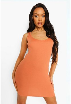 Caramel beige Rib Bodycon Mini Dress