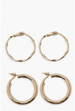 Gold metallic Smooth And Twist 2 Pack Hoop Earrings
