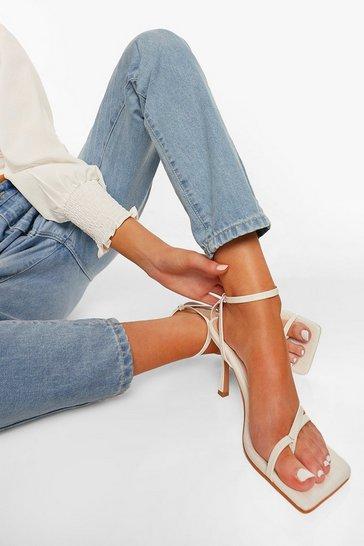 White Strappy Croc Heel