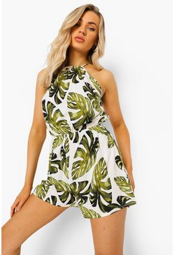 Palm Print Tie Back Playsuit, White Белый