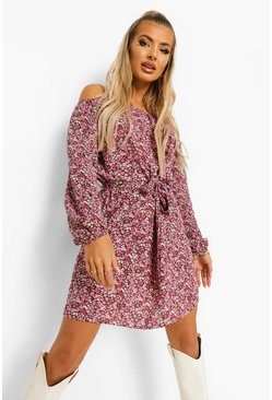 Purple Floral Print Off The Shoulder Shift Dress