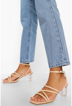 Nude Low Strappy Clear Heel Sandal