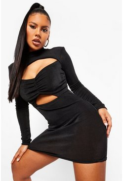 Black Textured Slinky High Neck Cut Out Mini Dress