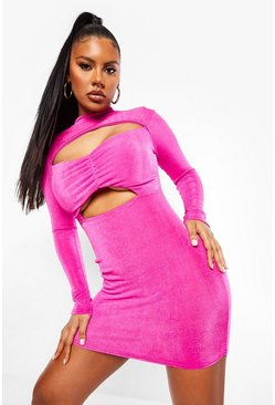 Pink Textured Slinky High Neck Cut Out Mini Dress