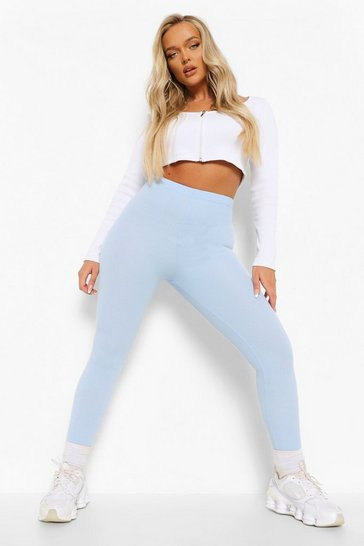 Dusty blue blue Crinkle Rib Basic High Waist Leggings