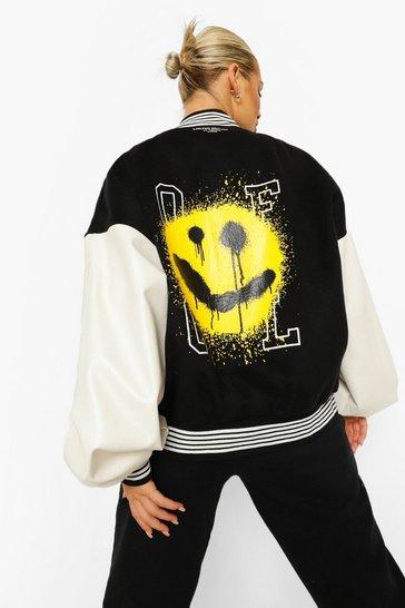 Black Face Print Oversized Varsity Bomber Jacket