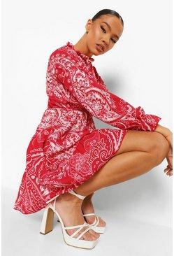 Red Paisley Print Tired Smock Dress