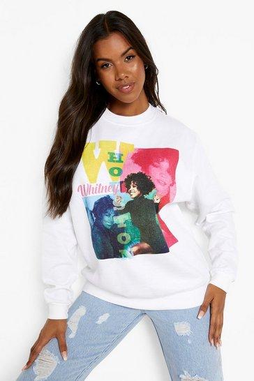 White Whitney Houston License Print Sweatshirt