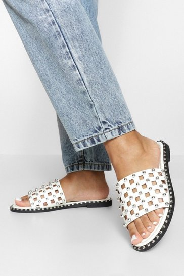 White Studded Caged Sliders