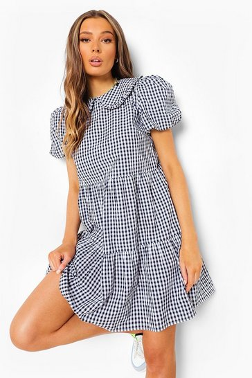 Dark navy blue Gingham Collared Puff Sleeve Smock Dress