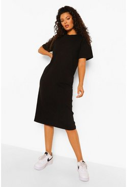 Black Round Neck Short Sleeve Midi Shift Dress