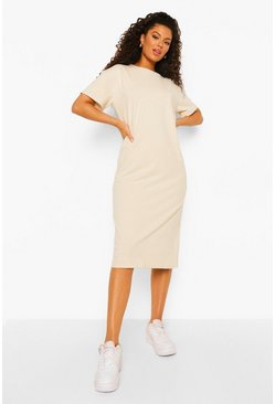 Stone beige Round Neck Short Sleeve Midi Shift Dress