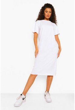 White Round Neck Short Sleeve Midi Shift Dress