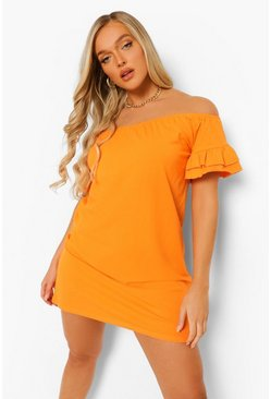 Orange Bardot Short Sleeve Frill Edge Swing Dress