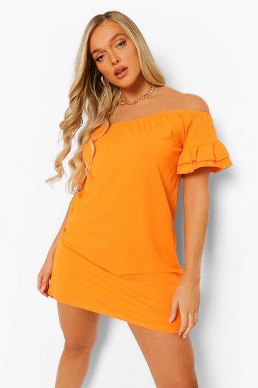 Orange Bardot Short Sleeve Frill Edge Swing Dress