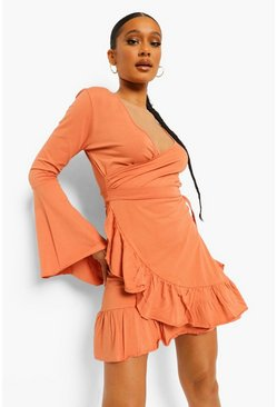 Caramel beige Wrap Tie Side Frill Detail Tea Dress