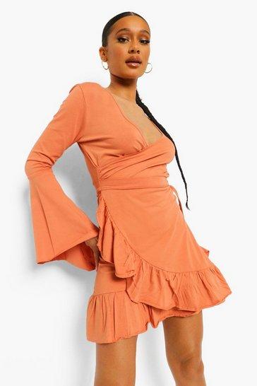Caramel beige Wrap Tie Side Frill Detail Tea Dress